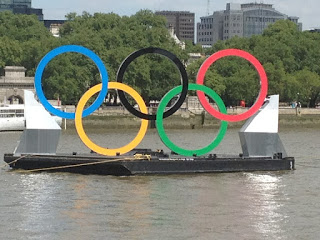 Olympic rings in the Thames