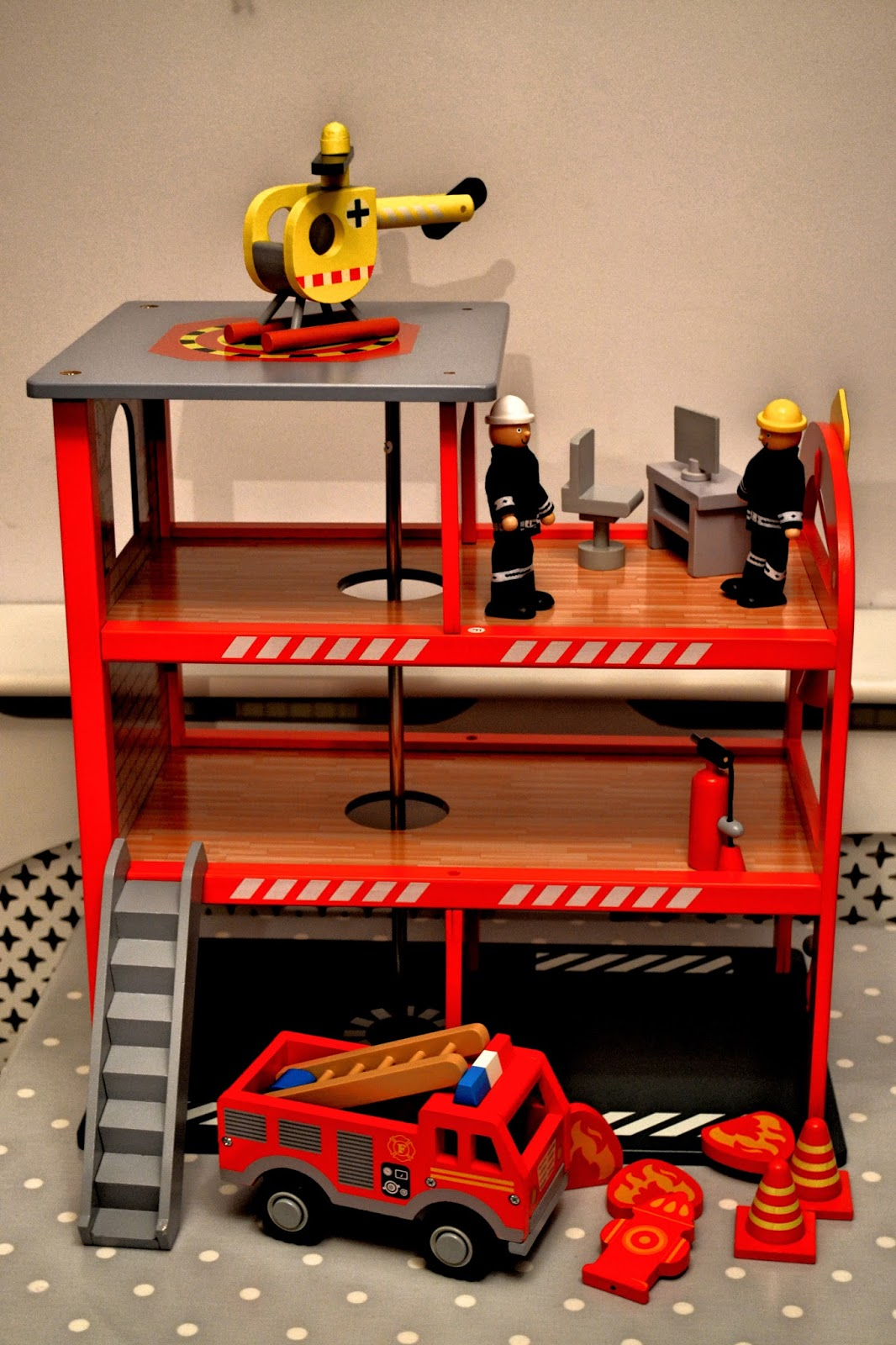 Asda Wooden Toy Range Fire Station Rock And Roll Pussycat