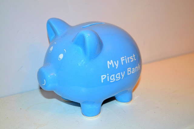 pale blue kids money box