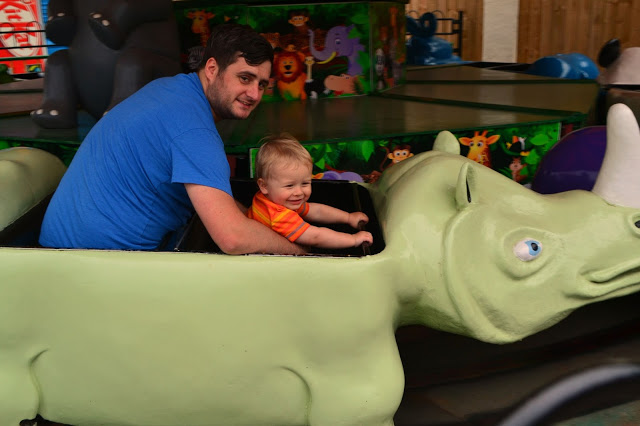 father and son on the rides at Lightwater Valley