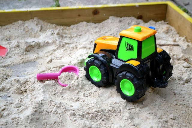 My First JCB Farm Fun Tractor Tim and trailer in the sand