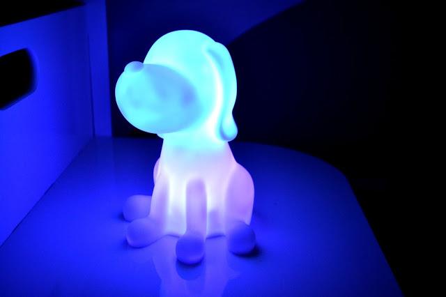 PK Green dog night light merging colours