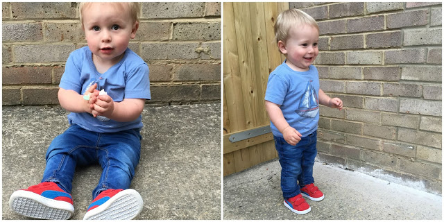 Get the Label red Puma kids trainers being worn by my little boy
